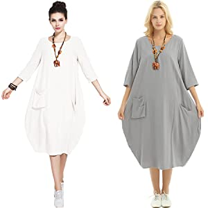 38e0df1592f Anysize Soft Linen Cotton Lantern Loose Dress Spring Summer Fall ...