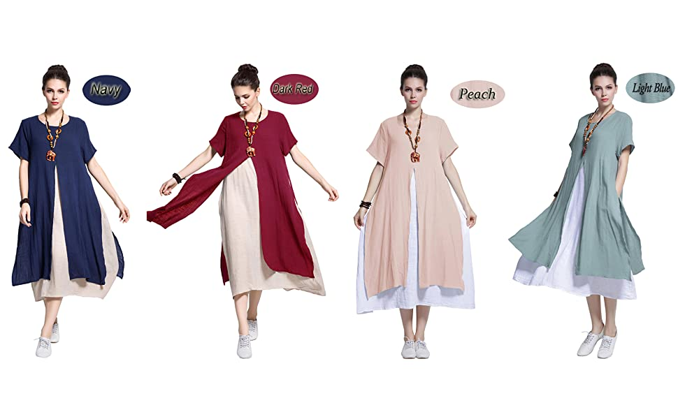 Anysize Fake-Two-Piece Soft Linen Cotton Dress Spring Summer Plus Size Clothing