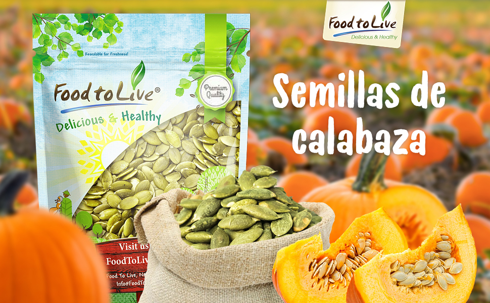 Amazon.com : Pepitas / Semillas de calabaza de Food to Live ...