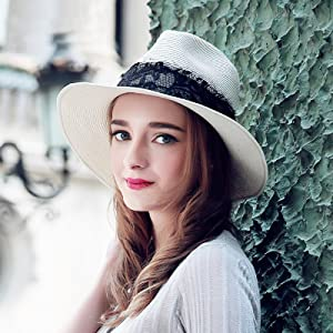 059eb502123bc Lanzom Women Wide Brim Straw Panama Roll up Hat Fedora Beach Sun Hat ...