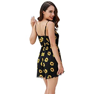 82938ebddc2 Amazon.com  Lanzom Women Summer Vintage V Neck Straps Sunflower ...