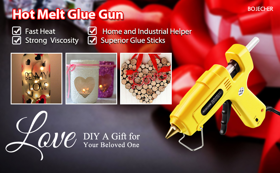 Hot Glue Gun 60//100w Double Power high Temperature Heavy Glue Gun Circuit Board with 20 Super Glue Sticks Christmas Decorations//Gifts not Mini 60//100w for Crafts 0.43x 6.3 Full Size