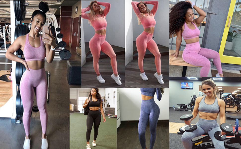 BLINGLAND Womens Yoga Pants High Waisted Running Workout Ombre Seamless Sport Leggings