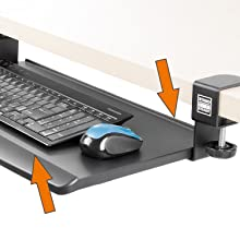 keyboard tray, sliding keyboard tray, stand steady, small keyboard tray, clamp on keyboard tray