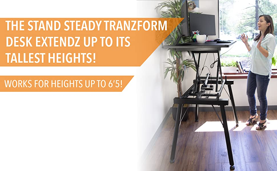 stand steady, tranzform desk, stand steady tranzform desk, height adjustable desk, electric desk