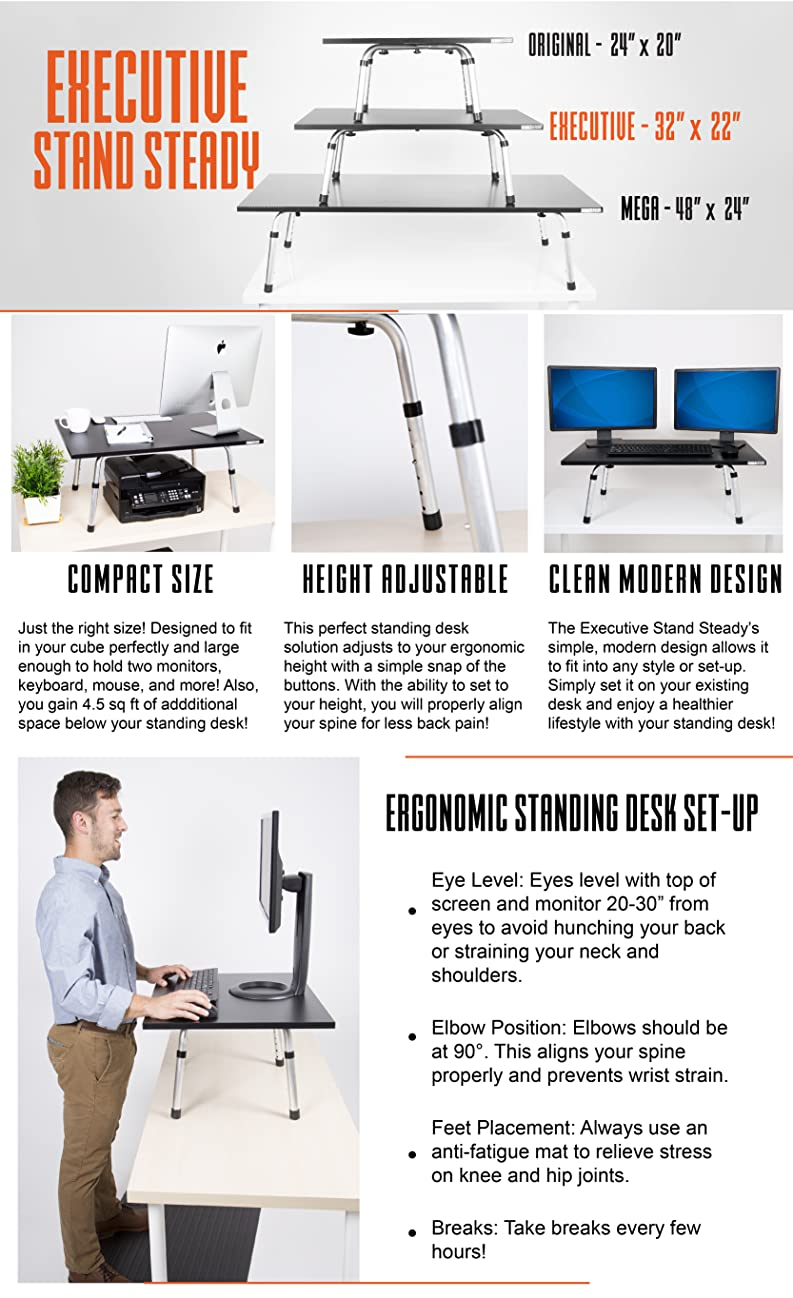 Stand Steady executive standing desk converter - stand only