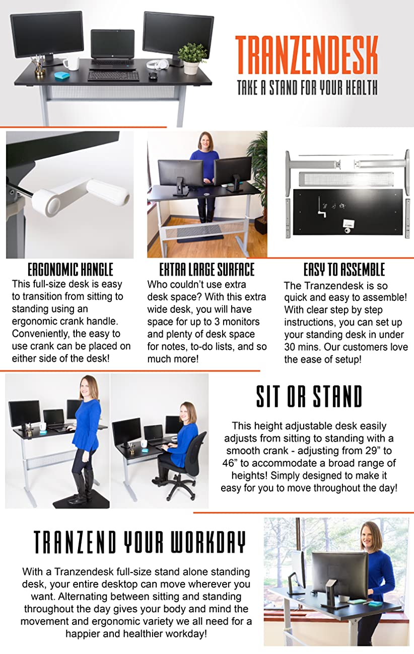 tranzendesk standing desk 55 inch stand steady adjustable height stand up desk crank computer workstation easily cranks from sit to standing