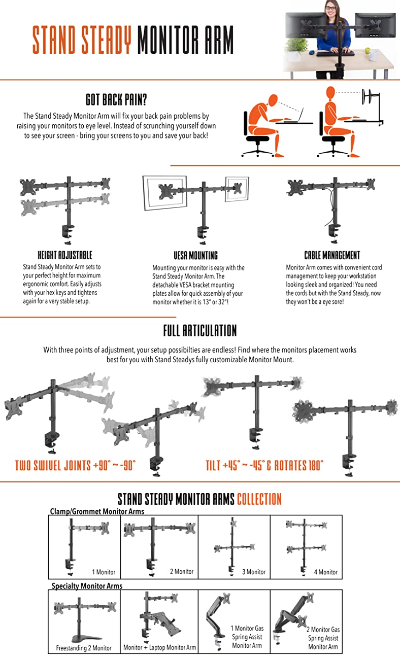 Stand Steady Monitor Arm Features and More Information