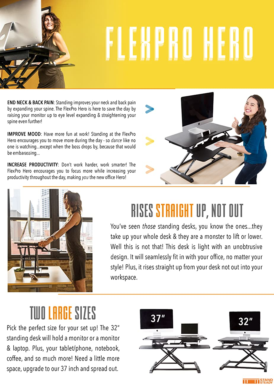 FlexPro Hero Sit Stand Standing Desk Converter Stand Steady