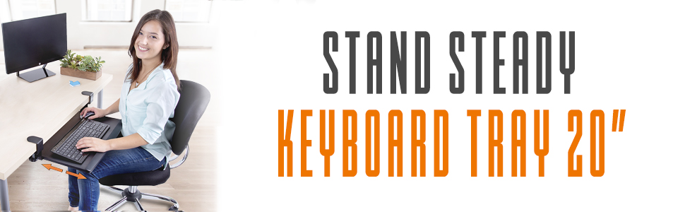 keyboard tray, stand steady, sliding keyboard tray, small keyboard tray, clamp on keyboard tray