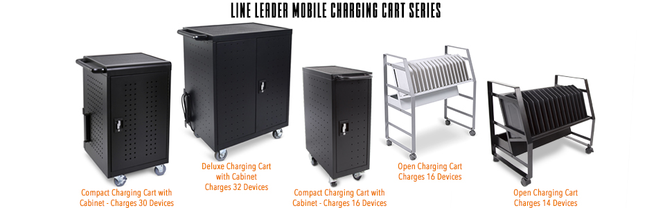 Line Leader Mobile Charging Cart, Locking Charging Cart with Wheels, Stand Steady Open Charging Cart
