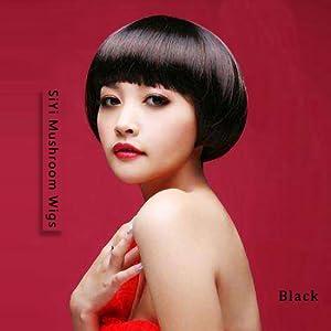 Amazon Com Siyi Bob Wig Black Short Mushroom Wigs With Full Bangs