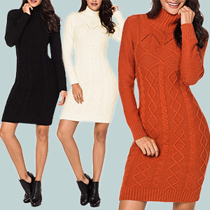 Meenew Women s High Neck Cable Knit Long Sleeve Bodycon Mini Sweater ... 5c74cf62c