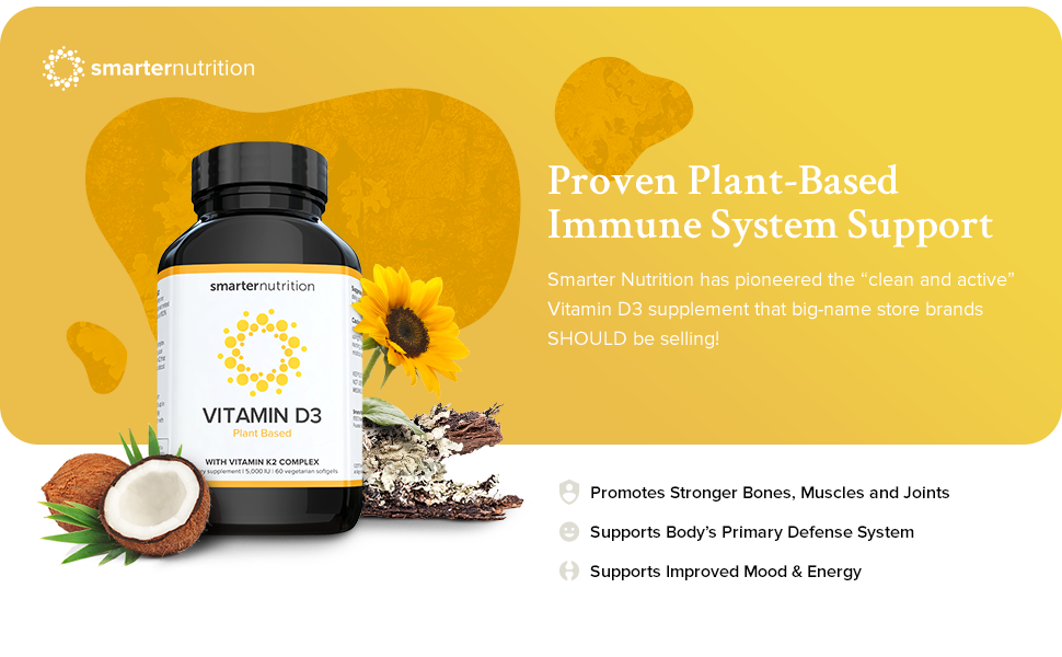 Smarter Vitamin D3 - Plant-Based D3 with K2 Complex for Immune System  Support | Includes