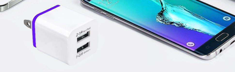 Amazon.com: Cargador USB, bloque de carga, 2.1 A, doble USB ...