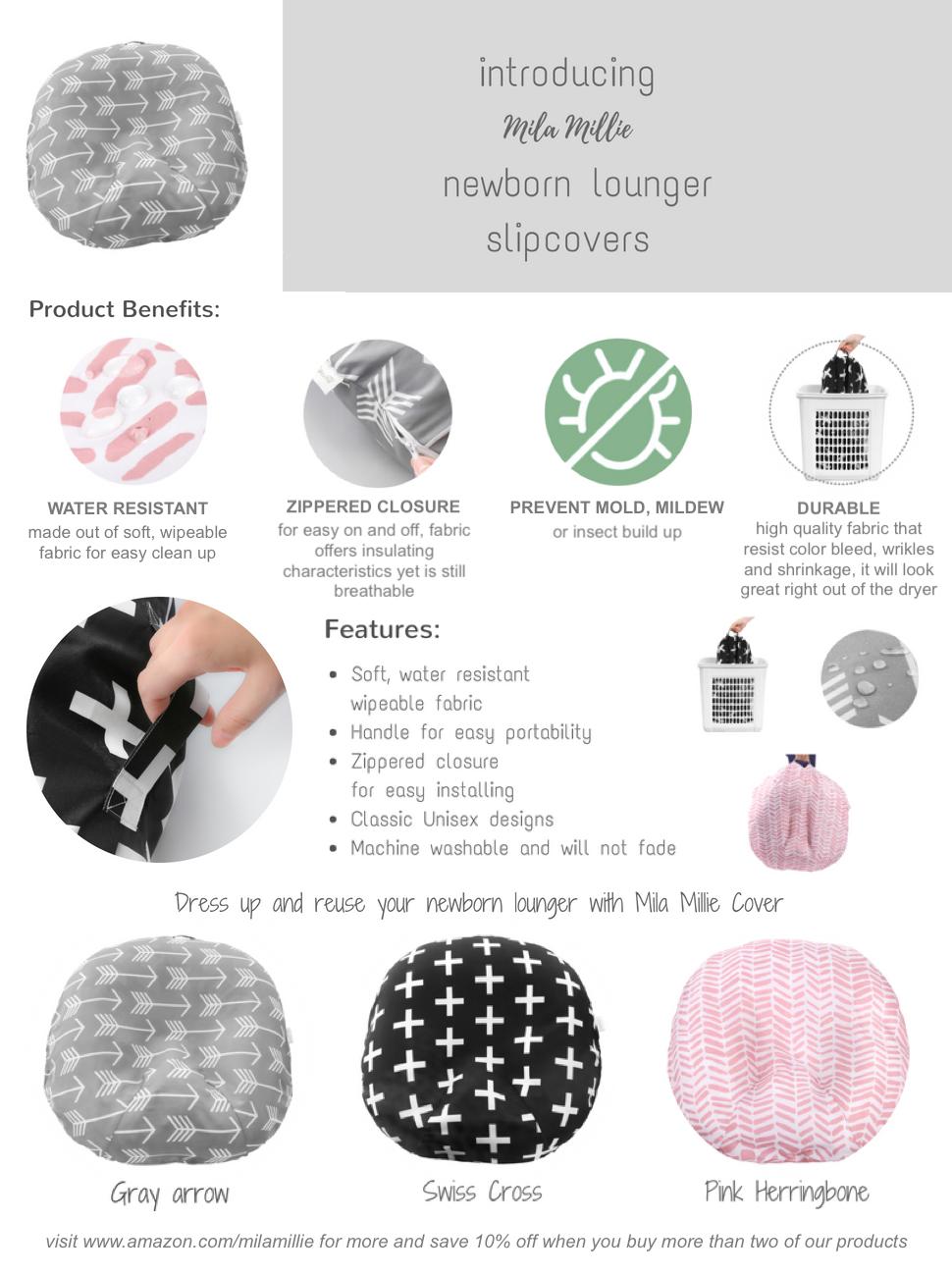 Mila Millie Newborn Lounger Arrow Nordic Swiss Pink Herringbone Water Resistant Removable Cover