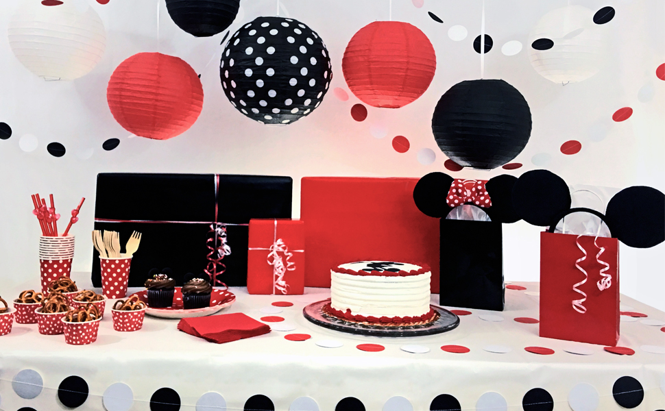 Amazoncom Bobee Black Red and White Party Decorations Paper