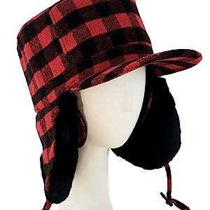 fudd elmer woodmen luxury fur plaid clothing hat earwamer winter cold weather ski