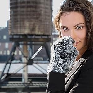 gloves mink mittens fingerless cold winter ski driving luxury womens clothing