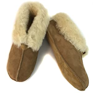 slippers sheepskin foot footwear shearling home good shoes soft warm cold suede leather