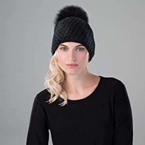 knit cap hat warm winter ski wool pom pompom fur luxury cold weather fashion apparel ear warmer