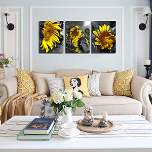 """Arjun Canvas Wall Art Sunflowers Yellow Flowers Pictures Bloosom Modern Florals 3 Panels 12"""""""