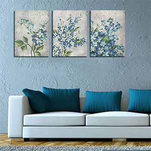 Canvas Wall Décor Full Bloosm Flowers Painting Pictures Blue Framed Ready to Hang for Bedroom Living