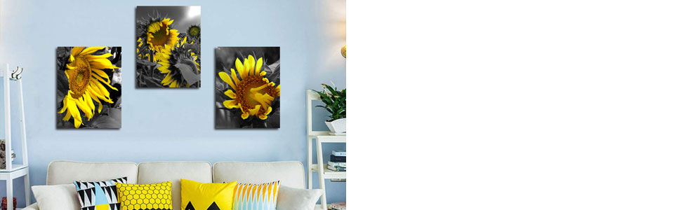 """Arjun Canvas Wall Art Sunflowers Yellow Flowers Pictures Bloosom Modern Florals 3 Panels 12""""x16"""","""