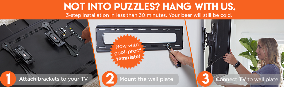 TV mount wall installation wood stud concrete steel stud quality sanus vlt6 blt2 premium advanced