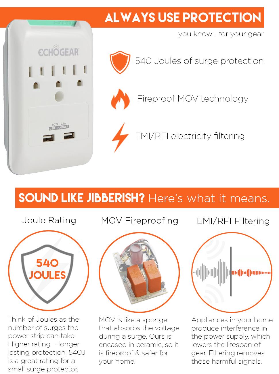Amazon.com: ECHOGEAR Low Profile Surge Protector Design With 3 AC ...