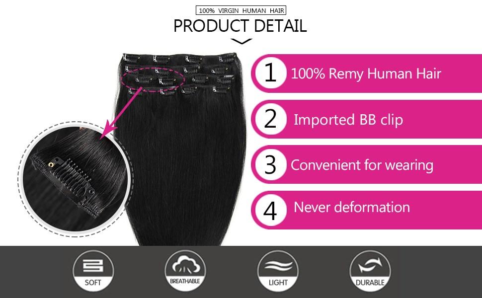 Amazon.com: Extensiones de cabello humano 100% Remy con clip ...