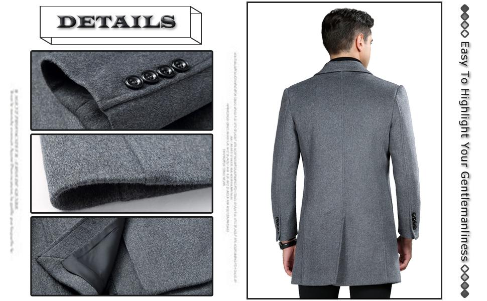 Amazon.com: ELETOP KEMCT - Abrigo de lana para hombre: Clothing
