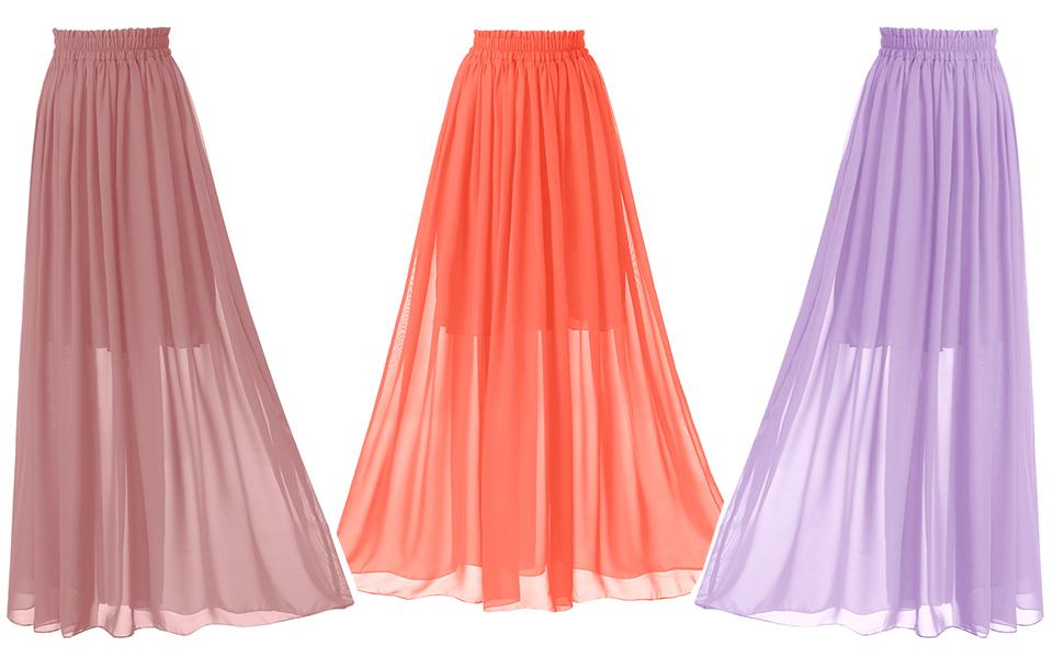 2d51e6434c Topdress Women's Floor Length Beach Skirt Floral Print Chiffon Maxi ...