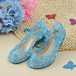 Toddler//Little Kid CQDY Blue Girl/'s Princess Shoes Jelly Sandals Cinderella Toddler Cosplay Dancing Show Mary Janes