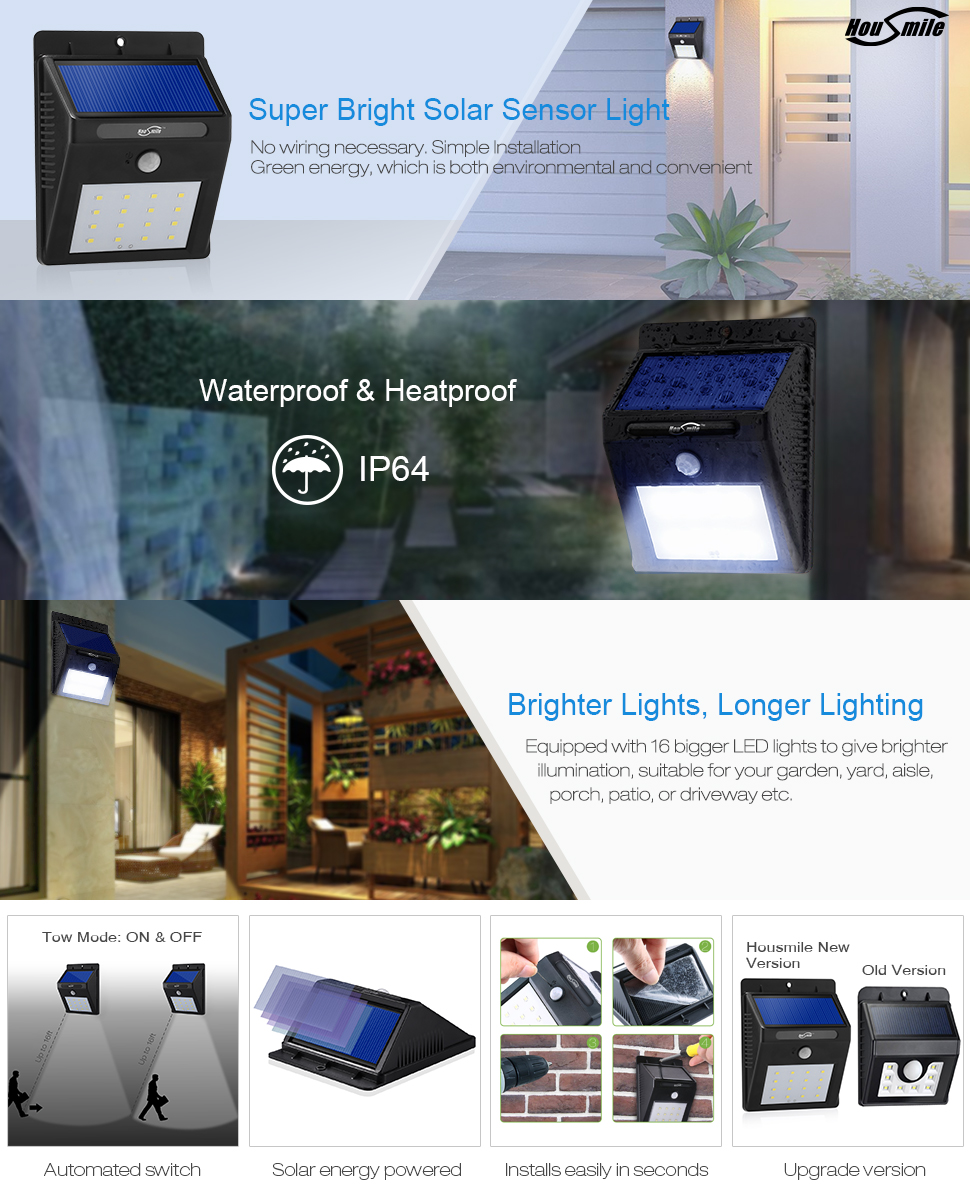 Housmile Led Solar Motion Sensor Lights Wireless Brighter Lighting With Multiple Leds Compared To Other This Light Shines Due The Built In 16 Powerful Multi Has A Big Panel