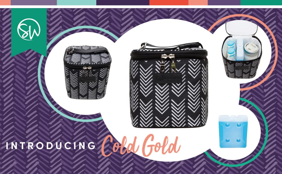 """Sarah Wells """"Cold Gold/"""" Cooler Bag Black /& White Authentic from Manufacturer"""
