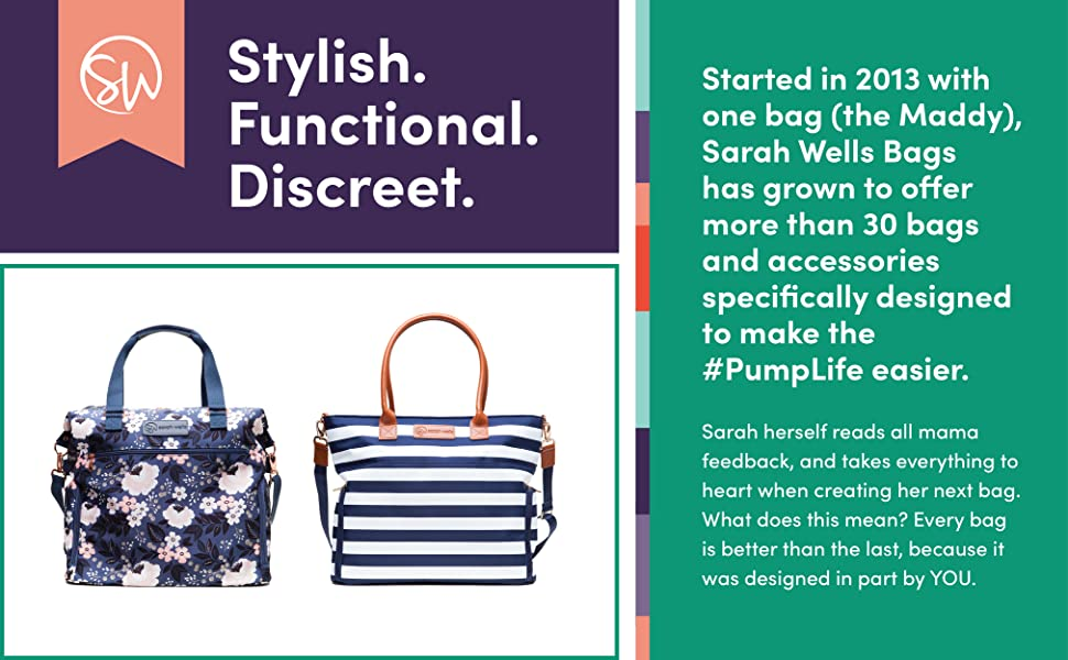 sarah wells stylish functional discreet breast pump diaper bag back to work