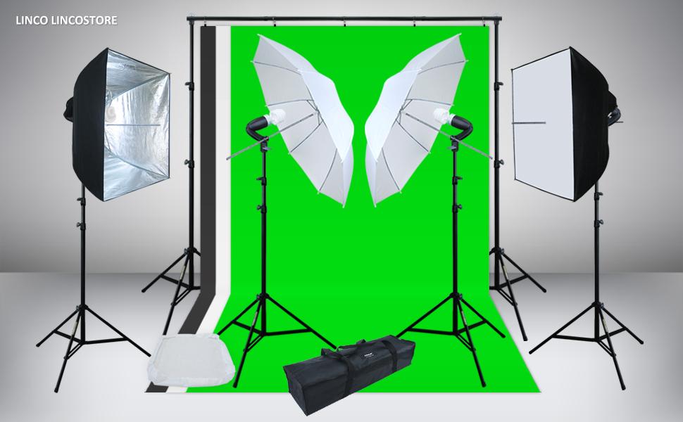 Photo Video Studio Light Kit AM142 - Including 3 Color 5x10ft Backdrops (Black/Whtie/Green) Background Screen & Amazon.com : Linco Lincostore Photo Video Studio Light Kit AM142 ... azcodes.com