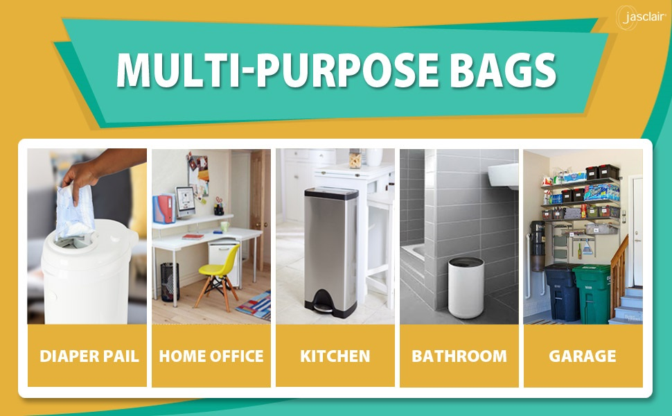 Multi-purpose bags can be used all throughout the house in the kitchen, bathroom, garage, office.