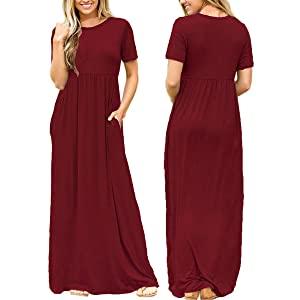 66efccbd05 Dearlovers Women's Solid Color Loose Maxi Casual Dress. Soft and Stretchy,  Short Sleeves, Round Neck, Side Pockets,Floor Length ...
