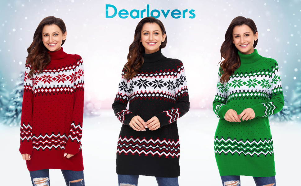 943b7121ead616 Dearlovers Womens Long Sleeve Snowflake Knitted Turtleneck Long Ugly  Christmas Sweater Tops