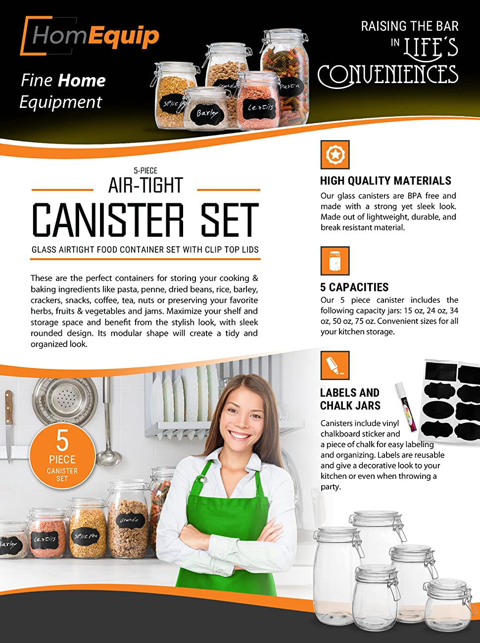 amazon com homequip 5 piece airtight canister set with clip top our 5 piece canister includes the following capacity jars 15oz 24 oz 34oz 50oz 75oz convenient sizes for all your kitchen storage