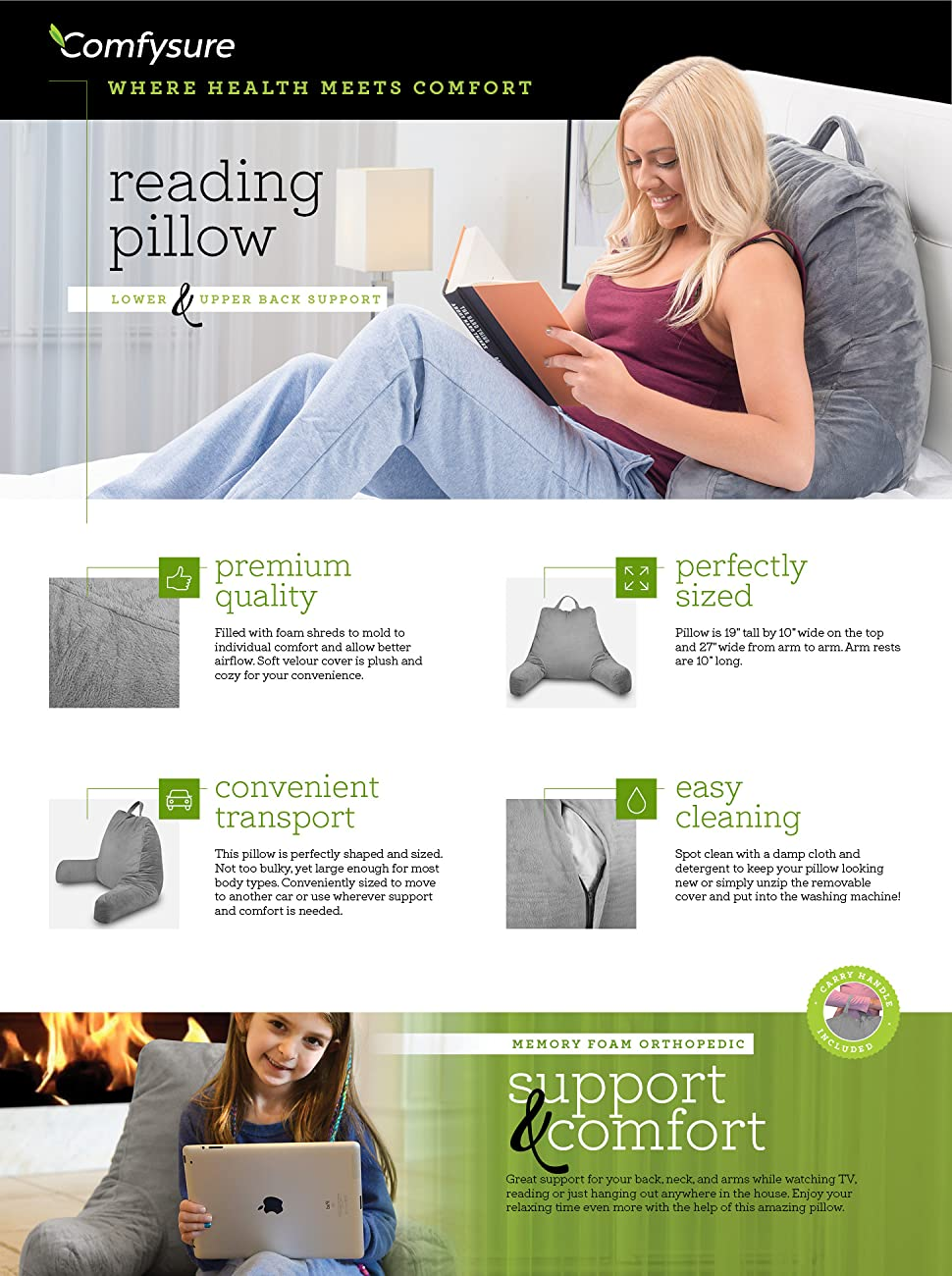 comfysure shredded memory foam reading pillow the ultimate universal pillow bed rest for adults and kids while relaxing reading or watching television - Bed Rest Pillow With Arms