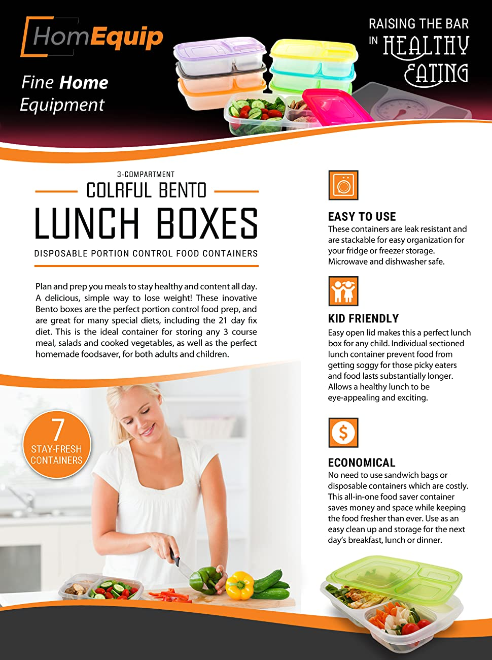 Amazon.com: HomEquip 3 Compartment Bento Lunch Boxes with Lids (7 Pk ...