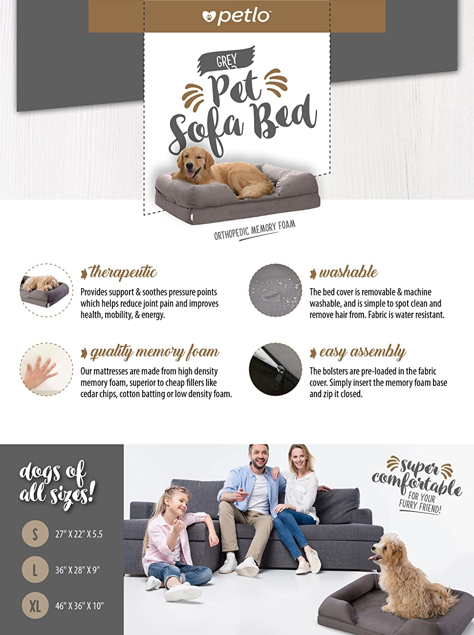 With Petlou0027s Memory Foam Pet Sofa You Can Rest Easy Knowing That Your Furry  One Is Lounging Comfortably On This High Grade Lounger That Is Easy To  Clean And ...