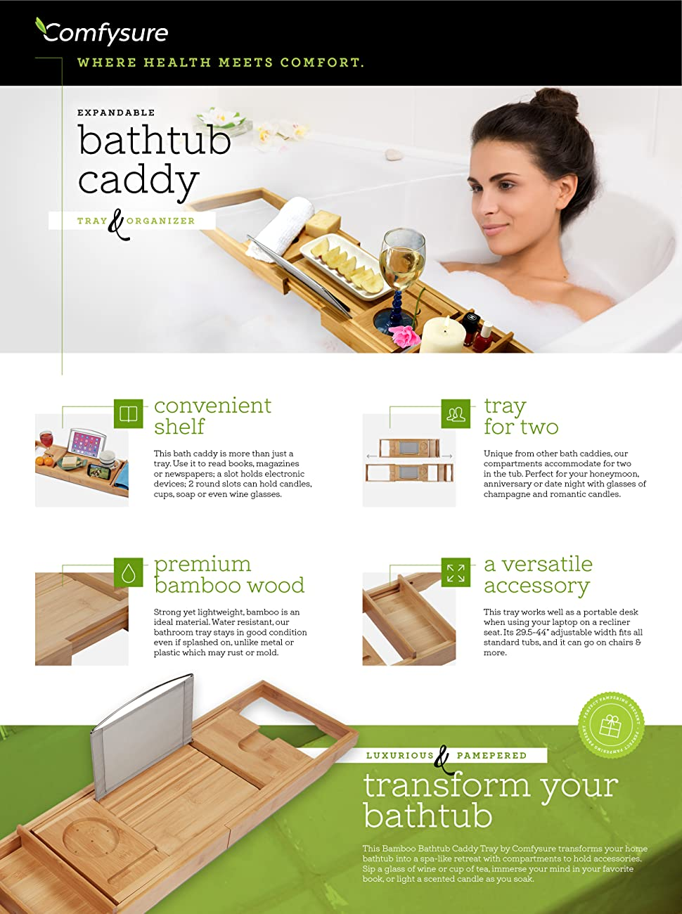 Amazon.com: ComfySure Expandable Bamboo Bathtub Caddy - Adjustable ...