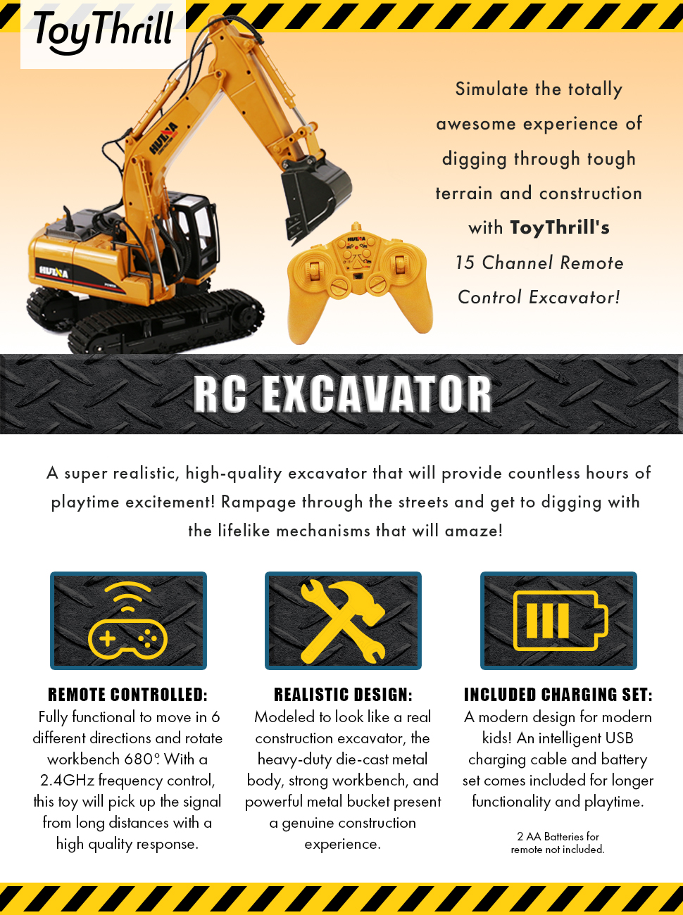 Toythrill Remote Control Excavator Fully Functional 15 And Are More Than A Basic 4 Or 5 Channel Rc Transmitter Simulate The Totally Awesome Experience Of Digging Through Tough Terrain Construction With Toythrills