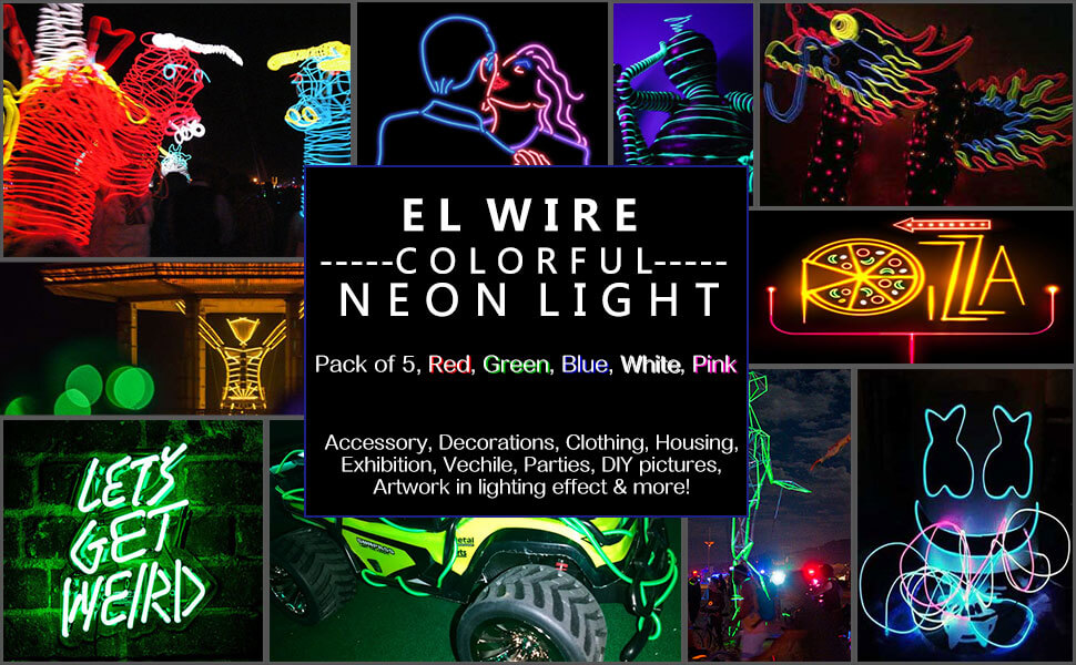 AIT EL Wire Kit 9ft, Portable Neon Lights for Parties, Halloween, DIY Neon Light Wiring on