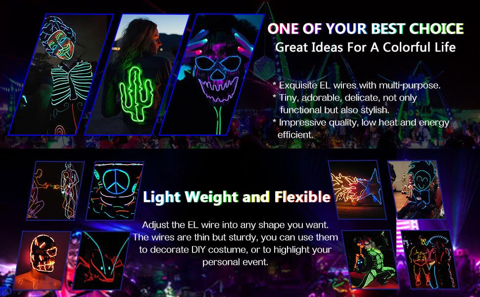 Amazon.com: ZITRADES EL Wire Green Neon Lights Kit with 4 Modes ...