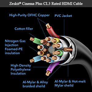 hdmi cable cl3 in wall 4k hdr hdcp 2.2 apple tv roku netflix projector dolby vision